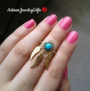 Gold Dreamcatcher Turquoise Ring